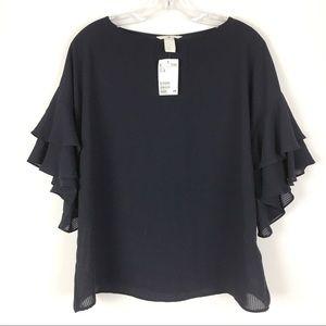New H&M Black Stripe Ruffled Sleeve Top Size 10